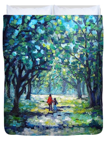Walking In The Park Duvet Cover