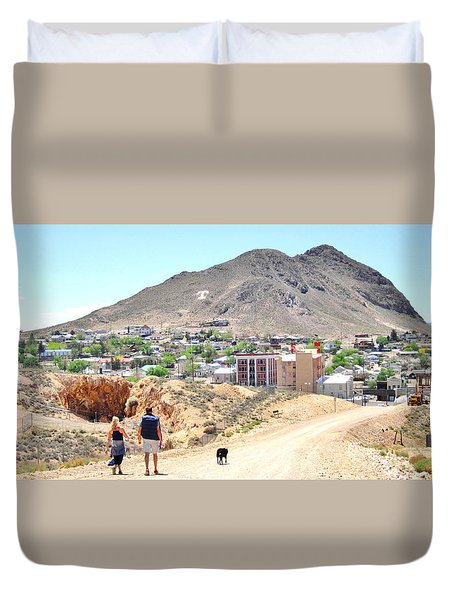 Duvet Cover featuring the photograph Walking Into The Past by Marilyn Diaz
