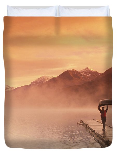 Walking On Dock Robe Lake  Sunrise Sc Duvet Cover by Michael DeYoung