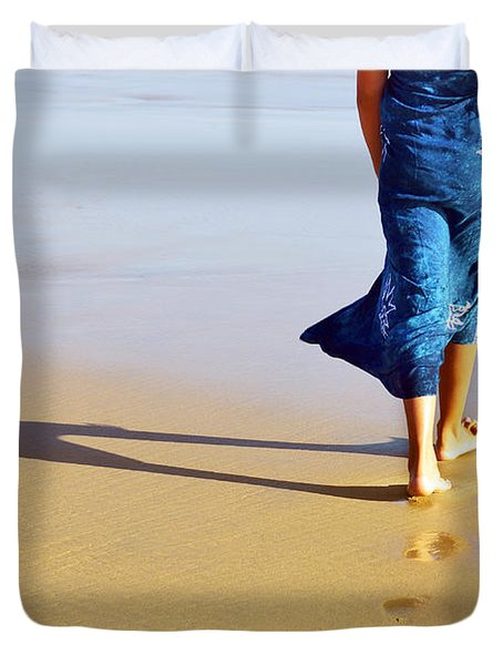 Walking On The Beach Duvet Cover by Carlos Caetano