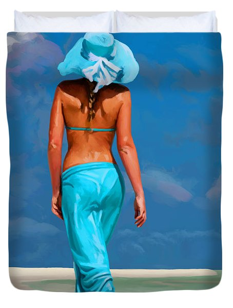 walking on the beach V Duvet Cover by Tim Gilliland