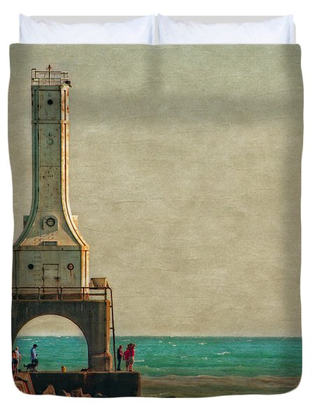 Walking On The Breakwater Duvet Cover by Mary Machare