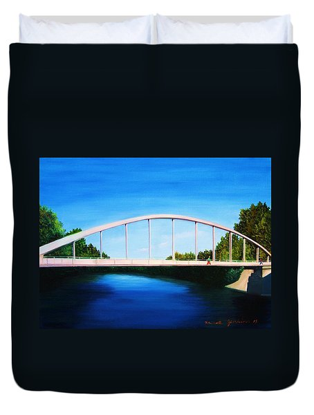 Walking On The Bridge  Duvet Cover