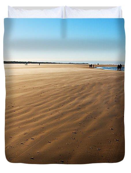 Walking On Windy Beach. Duvet Cover