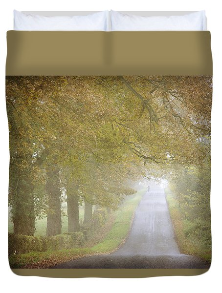 Duvet Cover featuring the photograph Walking The Dog. by Clare Bambers