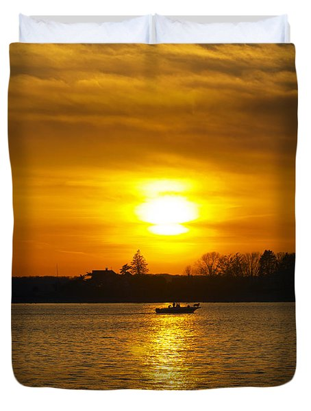 Walking The Dog Duvet Cover by Joe Geraci