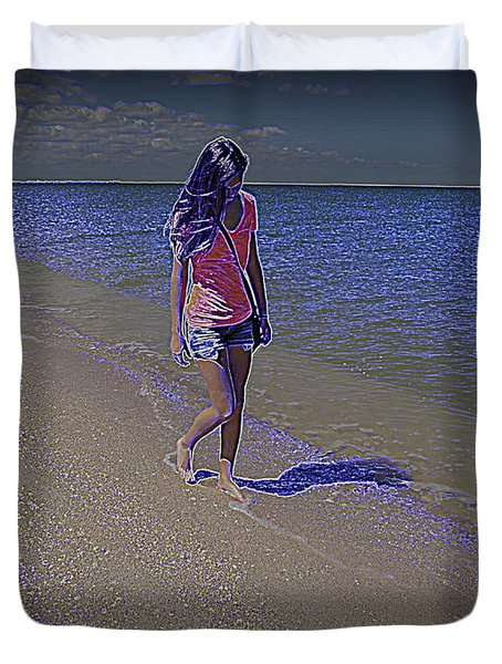 Duvet Cover featuring the photograph Walking The Mystic Blue Beach by Ella Kaye Dickey