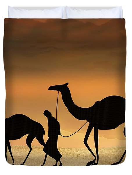 Walking The Sahara Duvet Cover by Bedros Awak