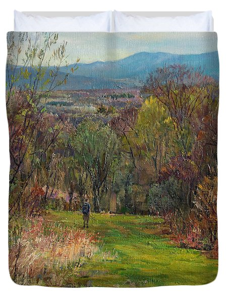 Walking Through The Woods In Spring Duvet Cover