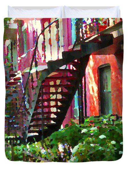Walking Verdun Spiral Staircases Graceful Circular Steps Montreal Colorful Scenes Carole Spandau  Duvet Cover by Carole Spandau