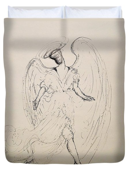 Walking With An Angel Duvet Cover