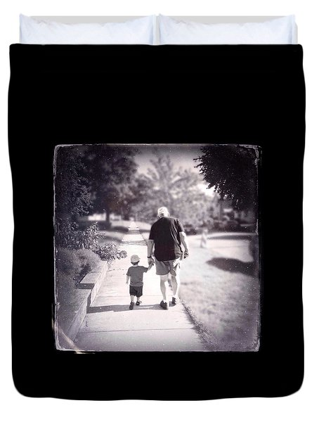 Walking With Grandpa Duvet Cover