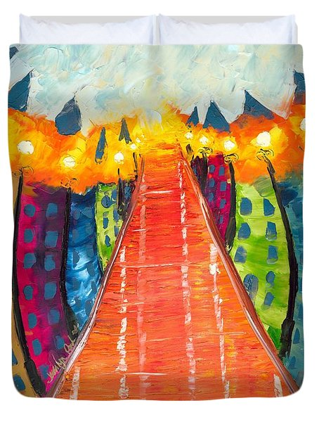Duvet Cover Featuring The Painting Walkway Of Whimsy By Jessilyn Park