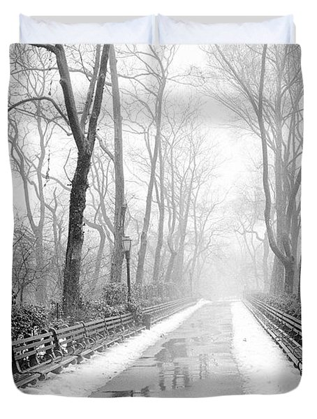 Walkway Snow And Fog Nyc Duvet Cover