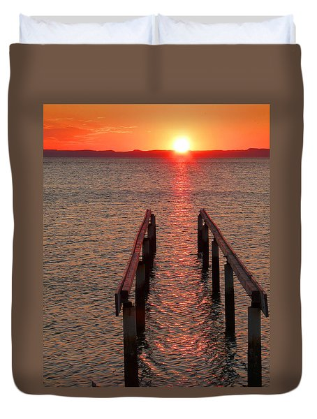 Duvet Cover featuring the photograph Walkway To The Sun by Alan Socolik