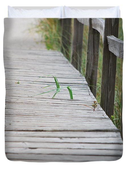 Duvet Cover featuring the photograph Walkway Weeds by Bob Sample