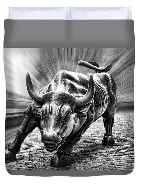 Wall Street Bull Black And White Duvet Cover