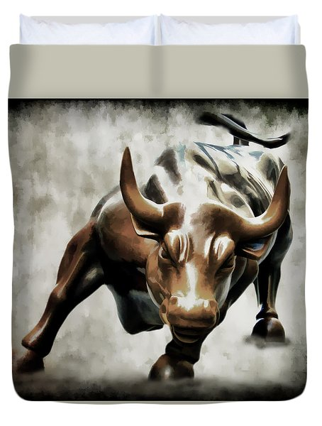 Wall Street Bull II Duvet Cover by Athena Mckinzie