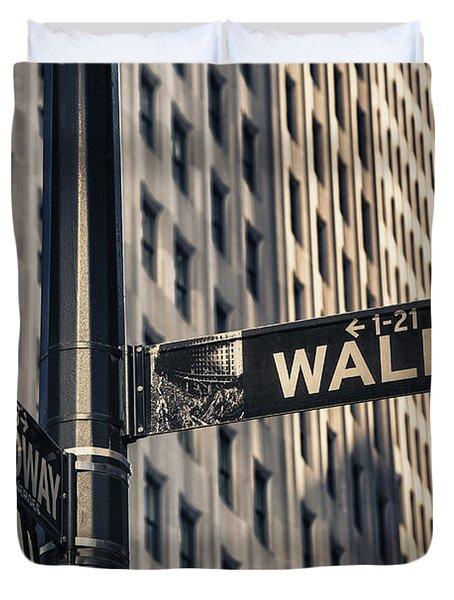 Wall Street Sign Duvet Cover