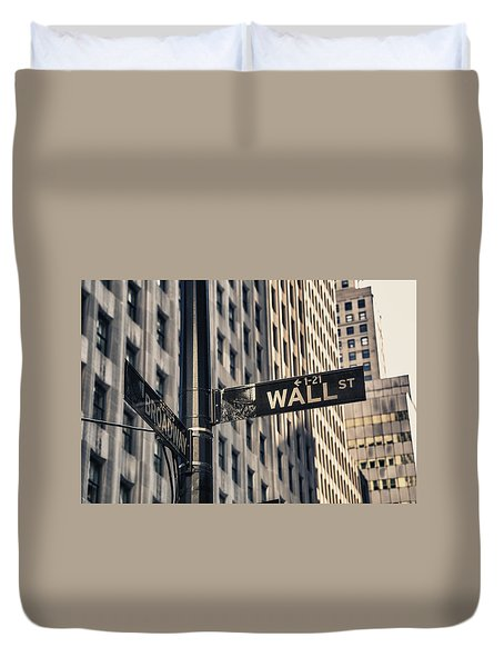 Wall Street Sign Duvet Cover