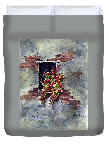 Wall With Red Flowers Duvet Cover by Sam Sidders