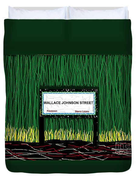 Duvet Cover featuring the mixed media Wallace Johnson Street by Mudiama Kammoh