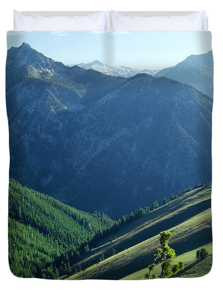 1m5903-wallowa Mountains And Valley Of The East Fork Duvet Cover