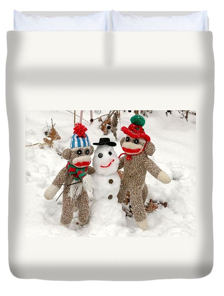 Wally And Petey Snowman Duvet Cover