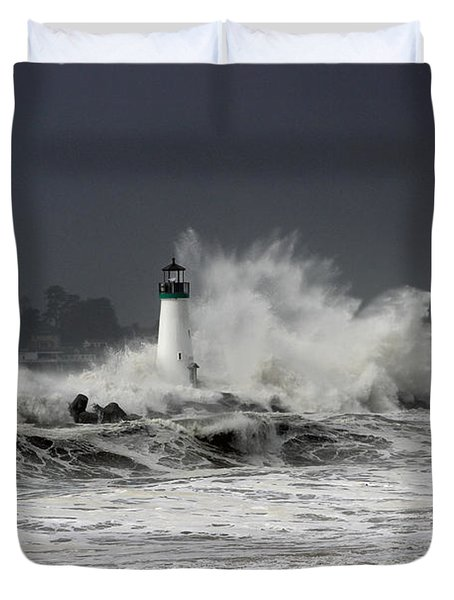 Walton Lighthouse Takes A Beating Duvet Cover