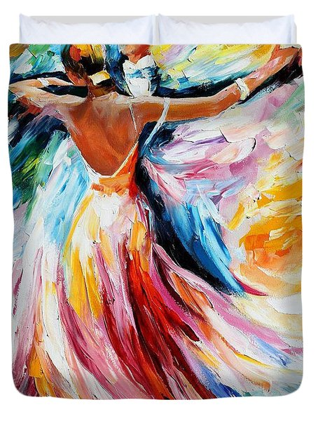 Waltz - Palette Knife Oil Painting On Canvas By Leonid Afremov Duvet Cover