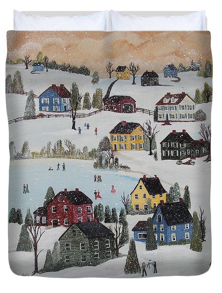 Duvet Cover featuring the painting Waltzing Snow by Virginia Coyle