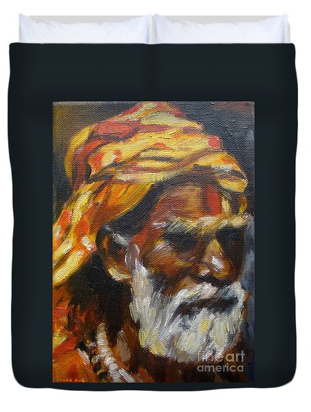 Duvet Cover featuring the painting Wandering Sage Small by Mukta Gupta