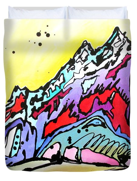 Duvet Cover featuring the painting Waning Seasons In The Tetons by Nicole Gaitan