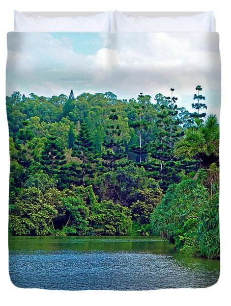 Waoleke Pond Forest Duvet Cover