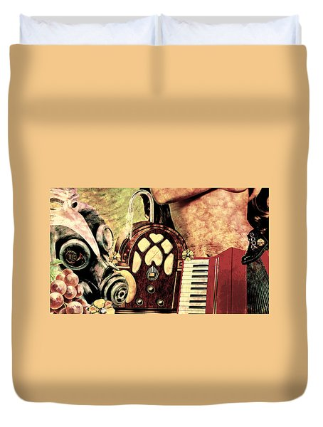 Duvet Cover featuring the mixed media War Dreams by Ally  White