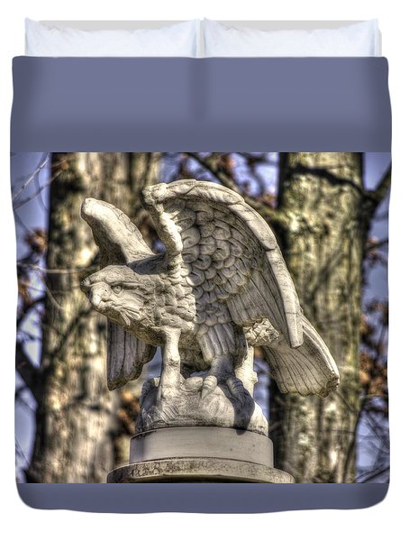 War Eagles - Vermont Company F 1st U. S. Sharpshooters-a1 Pitzer Woods Gettysburg Duvet Cover by Michael Mazaika