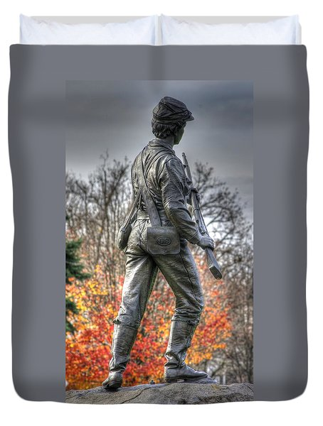 Duvet Cover featuring the photograph War Fighters - 26th Pennsylvania Emergency Militia Infantry-b1 Defending The Town Of Gettysburg by Michael Mazaika