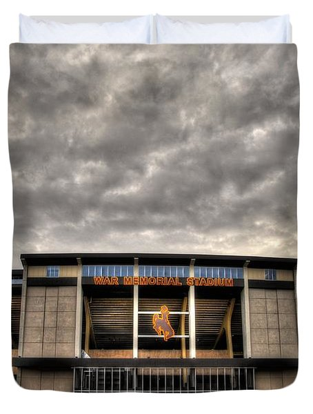 Duvet Cover featuring the photograph War Memorial Stadium by Anthony Wilkening