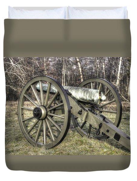 Duvet Cover featuring the photograph War Thunder - 1st New York Light Artillery-c1 Battery D The Wheatfield Late Winter Gettysburg by Michael Mazaika