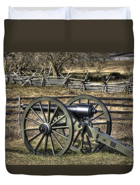 Duvet Cover featuring the photograph War Thunder - 9th Michigan Btry 1st Michigan Light Artillery Battery I Hancock Ave Gettysburg by Michael Mazaika