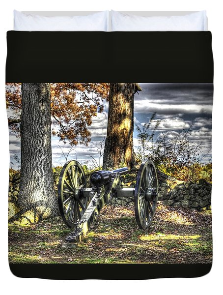 Duvet Cover featuring the photograph War Thunder - Lane's Battalion Ross's Battery-b1 West Confederate Ave Gettysburg by Michael Mazaika