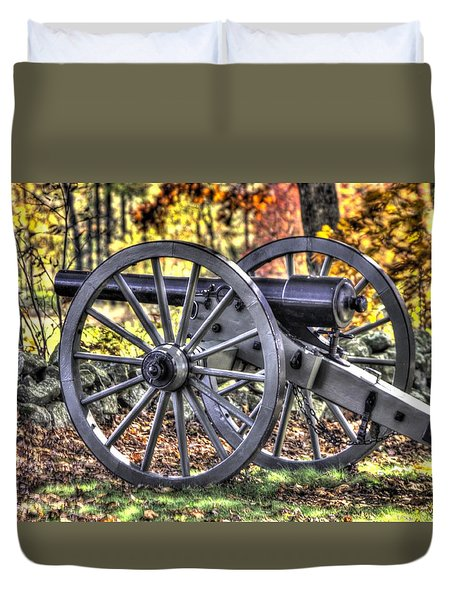 Duvet Cover featuring the photograph War Thunder - The Albemarle Va Artillery Wyatt's Battery-b2 West Confederate Ave Gettysburg by Michael Mazaika