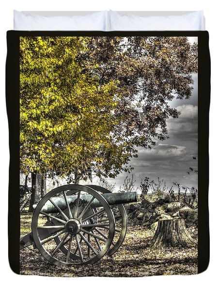 Duvet Cover featuring the photograph War Thunder - The Purcell Artillery Mc Graw's Battery-a2 West Confederate Ave Gettysburg by Michael Mazaika