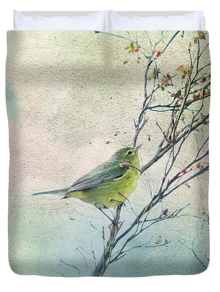 Warbler In A Huckleberry Bush Duvet Cover by Peggy Collins