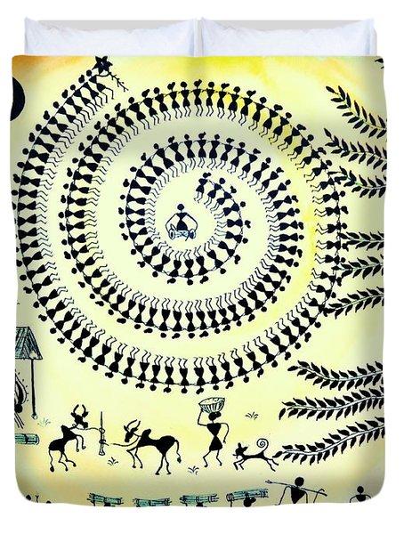 Warli Day Duvet Cover