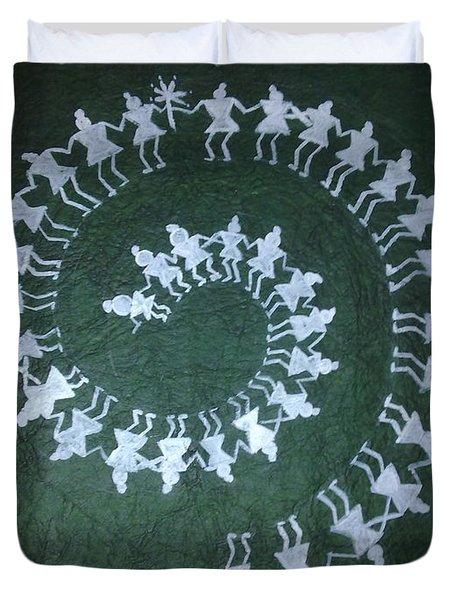 Warli On Handmade Paper Duvet Cover