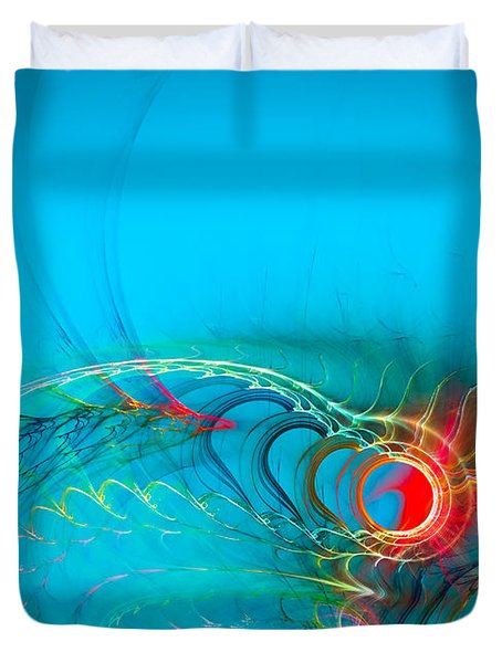 Warming Up The Blues Duvet Cover by Modern Art Prints