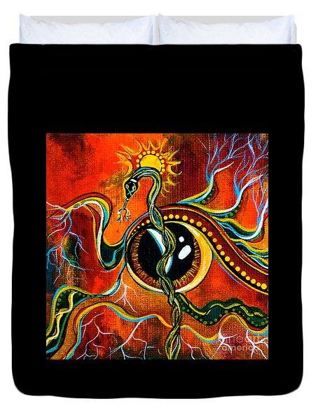 Duvet Cover featuring the painting Warrior Spirit Eye by Deborha Kerr
