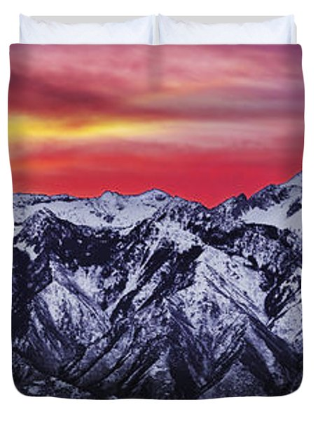 Wasatch Sunrise 3x1 Duvet Cover by Chad Dutson