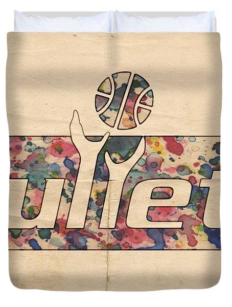 Washington Bullets Retro Poster Duvet Cover by Florian Rodarte